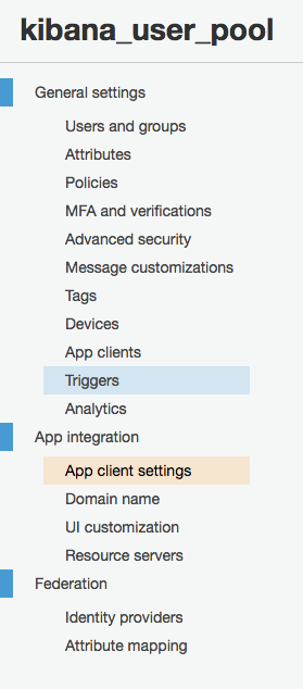 Cognito app client settings