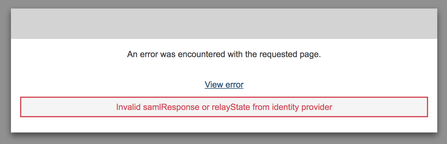 IdP initiated SAML error