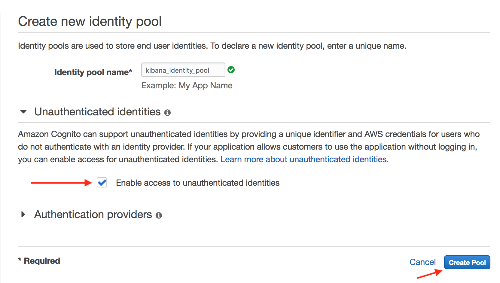 Temporarily allow unauthenticated identities