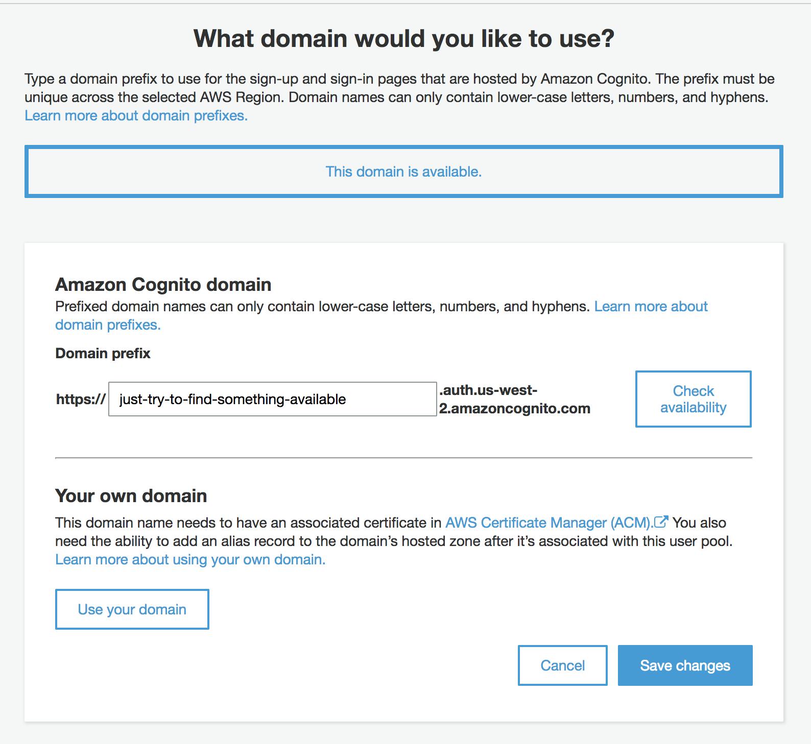 Set Cognito Domain Name