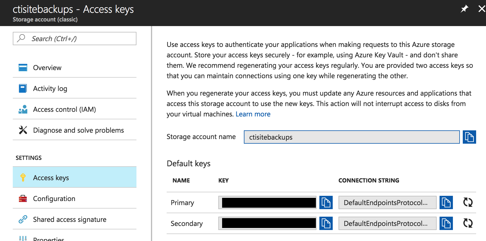 Azure storage access keys