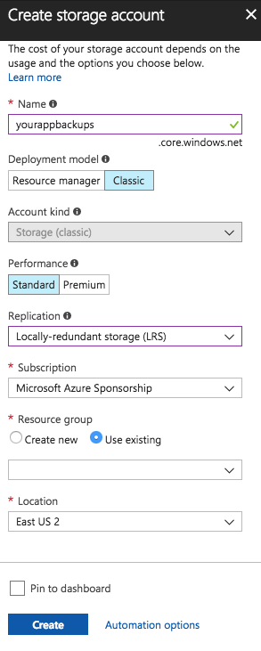 Azure Storage Account config