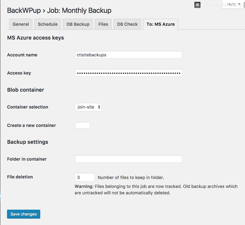 BackWPup azure config