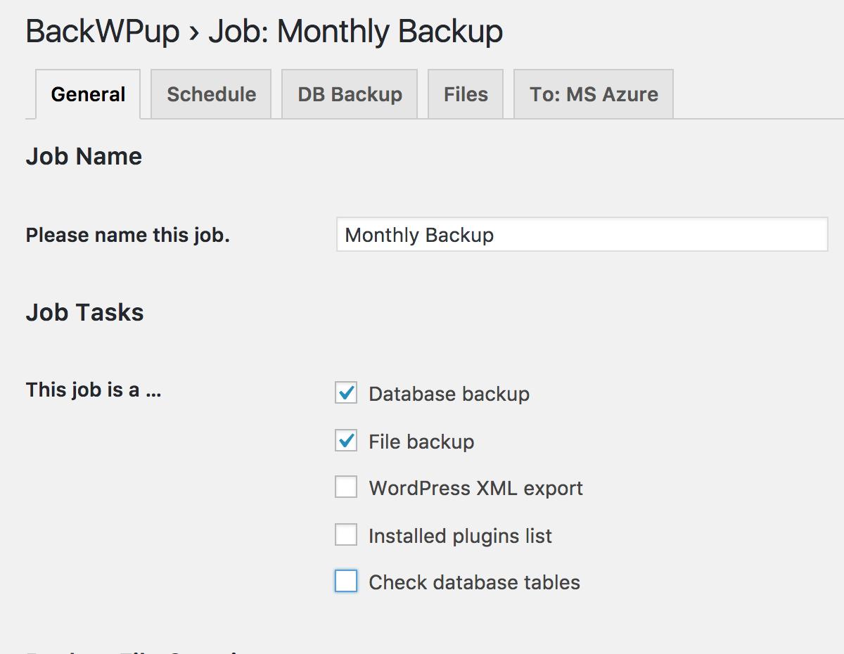 BackWPup job config